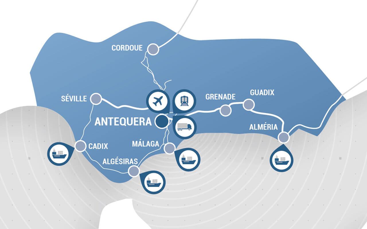 Carte Andalousie Puerto Seco Antequera